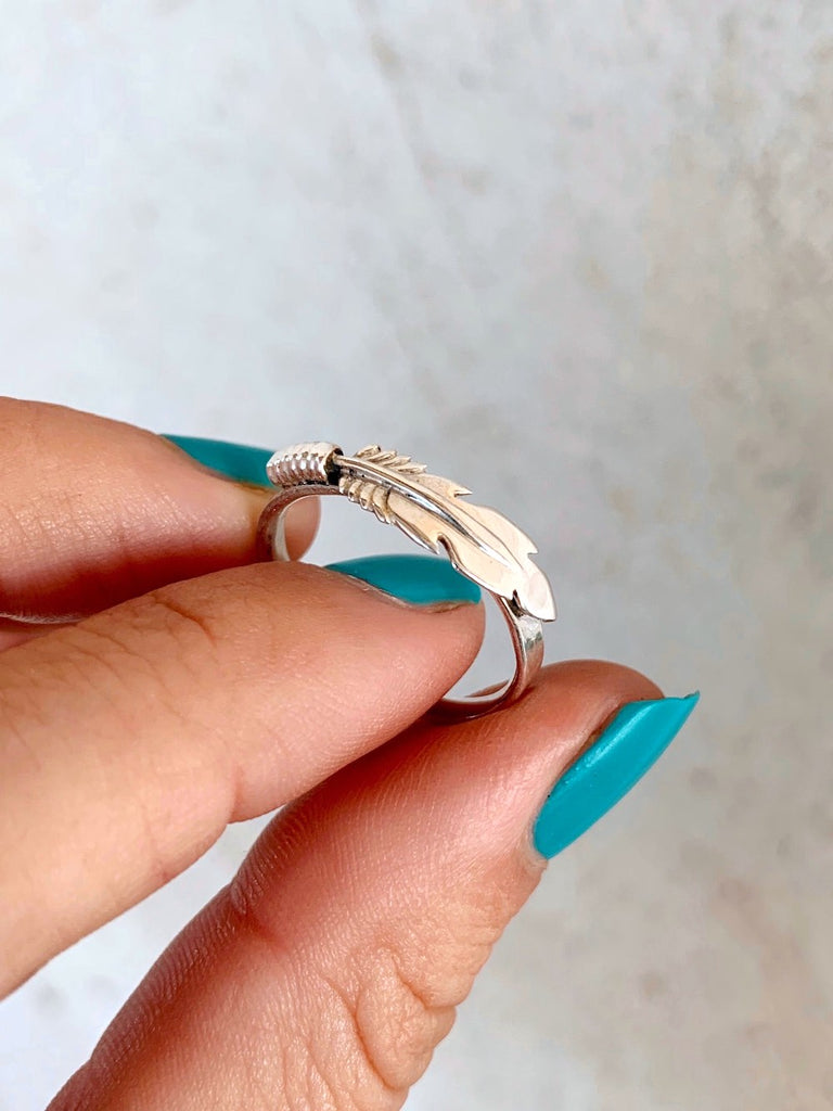 *Sterling Silver Feather Stacker Ring