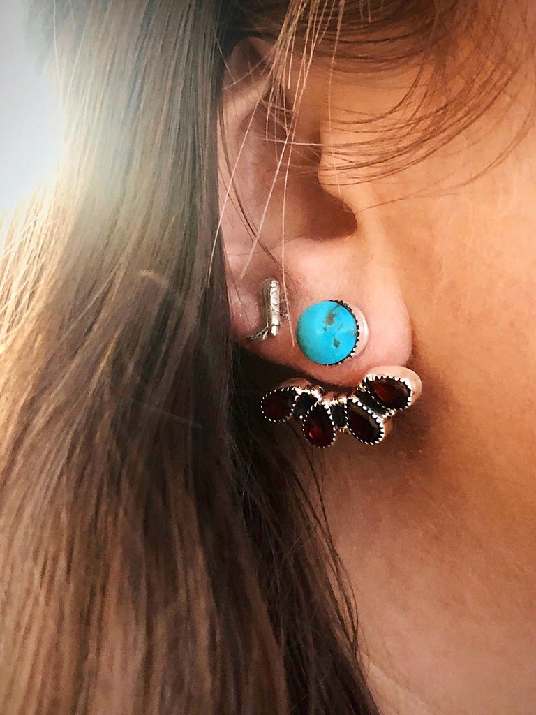 *Turquoise + Stone Ear Jacket Earrings