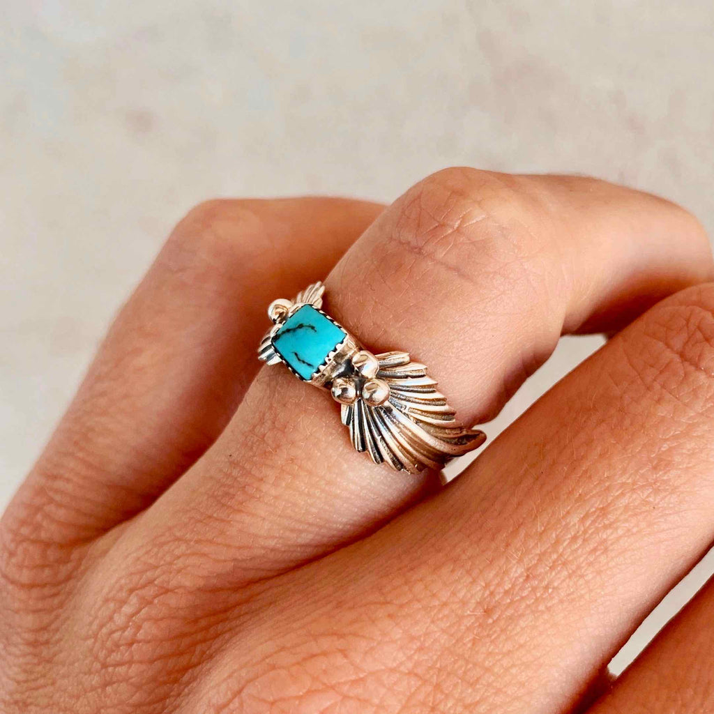 *Feather + Square Turquoise Ring