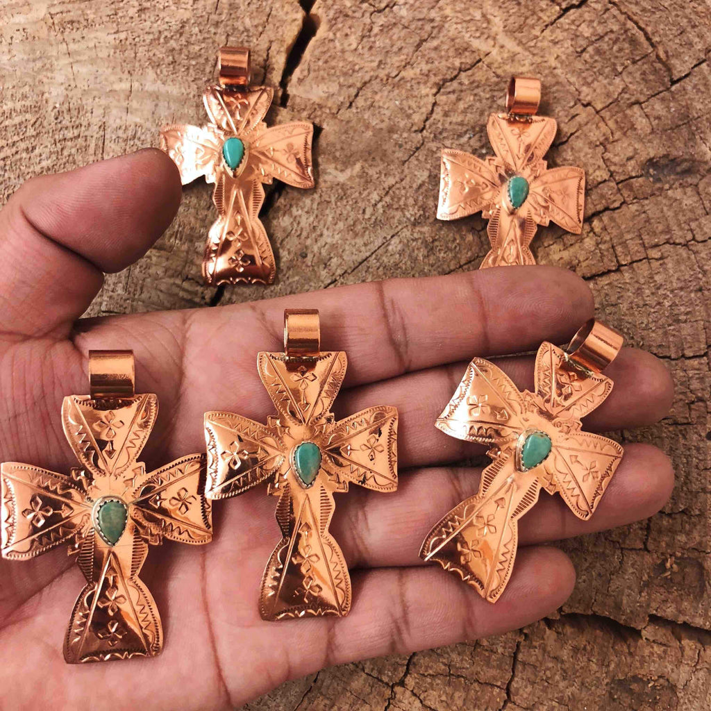 *RTS Copper + Turquoise Cross Pendant