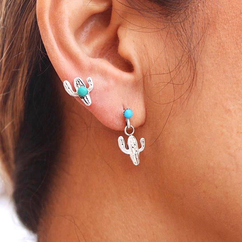 *Suguaro CACTUS Turquoise Stud Earrings