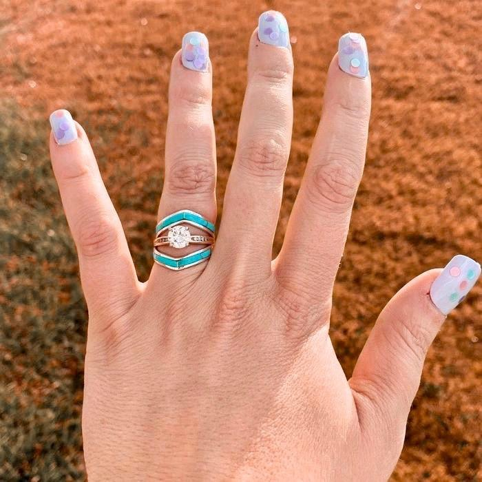 *RTS Chevron Turquoise Stacker Ring