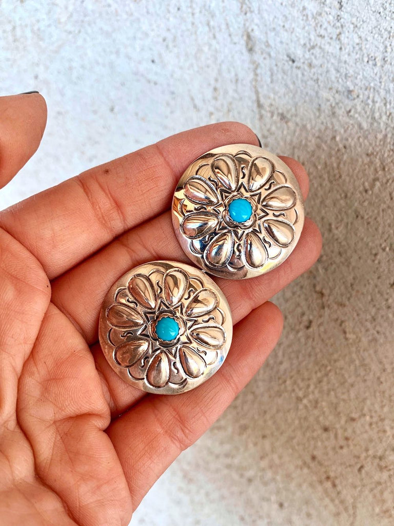 *RTS Blue Turquoise Concho Stud Earrings