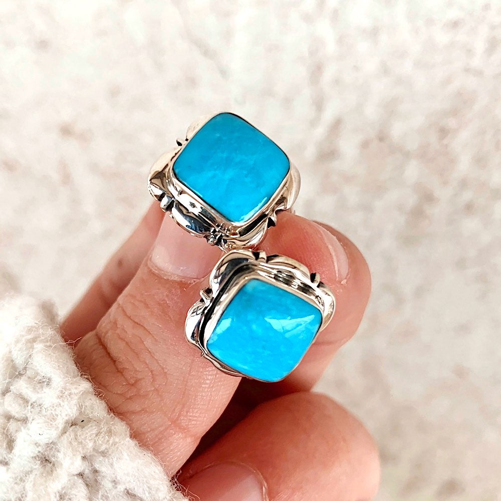 *RTS Square Turquoise Stud Earrings