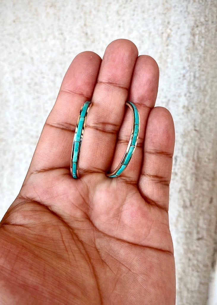 RTS ♢ GREEN TURQUOISE Inlay Hoops