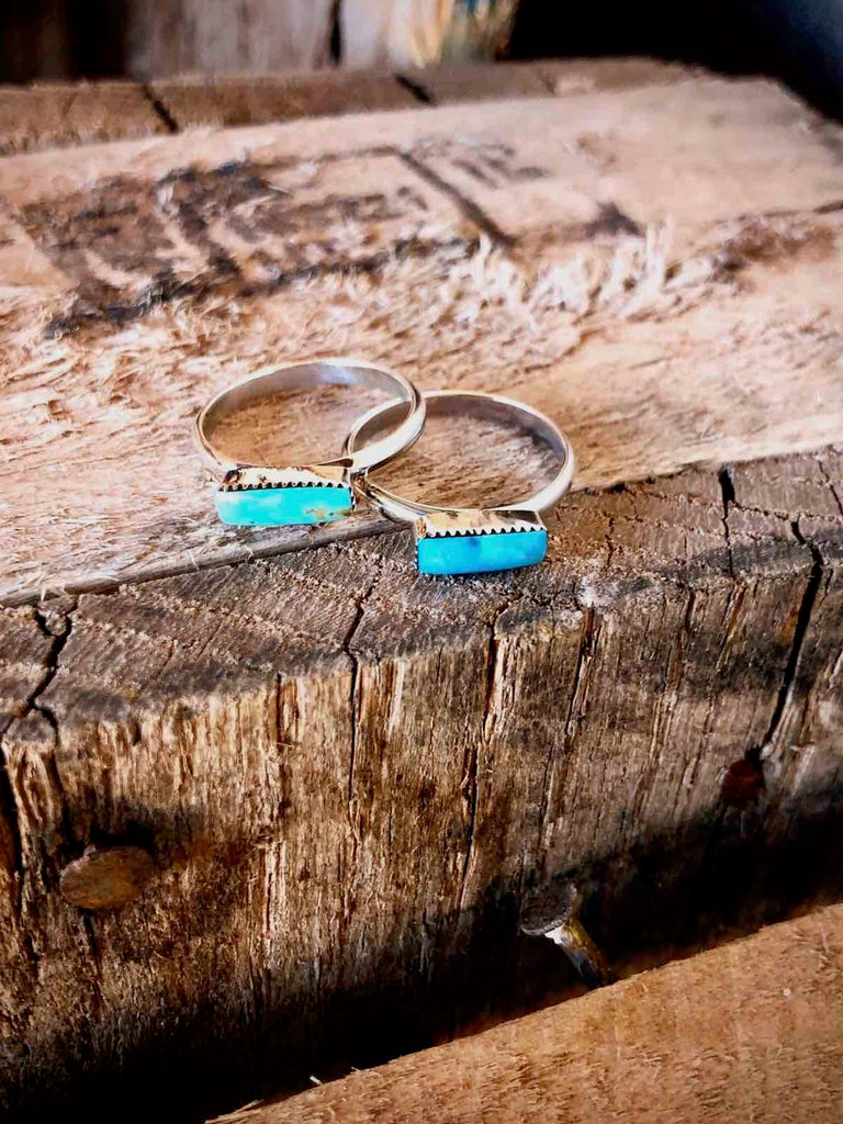 *TEENY Turquoise BAR Stacker Ring