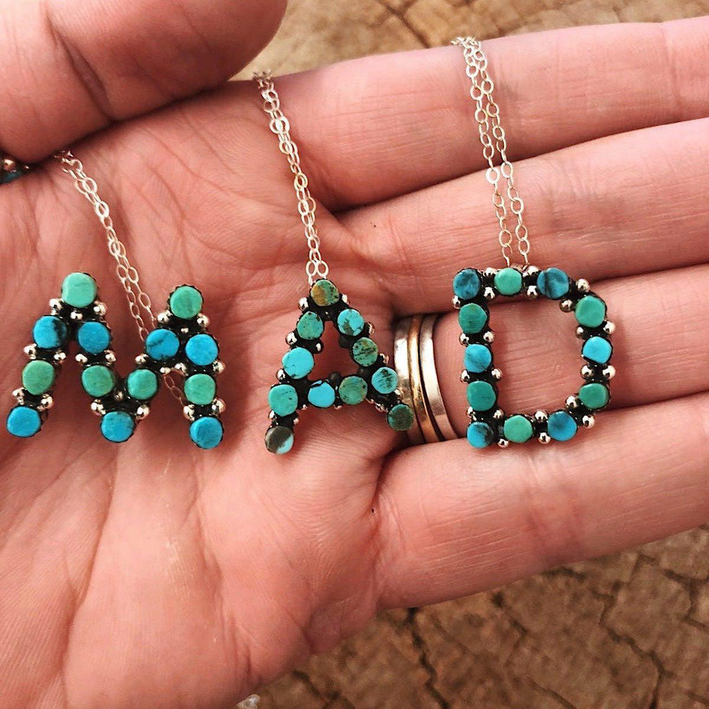 *MIX TURQUOISE Porter Initial Letter Necklace