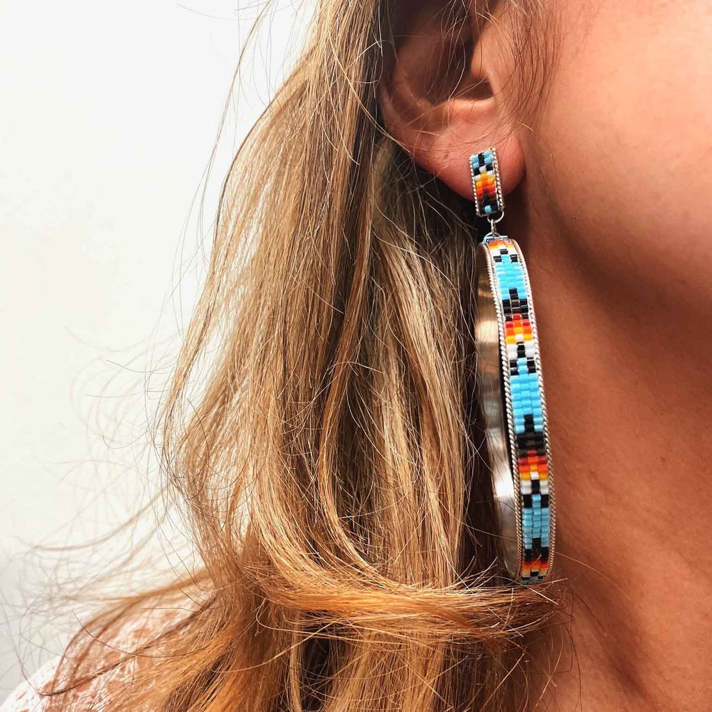 RTS ♢ BEADED Hoop Earrings ♢ LARGE