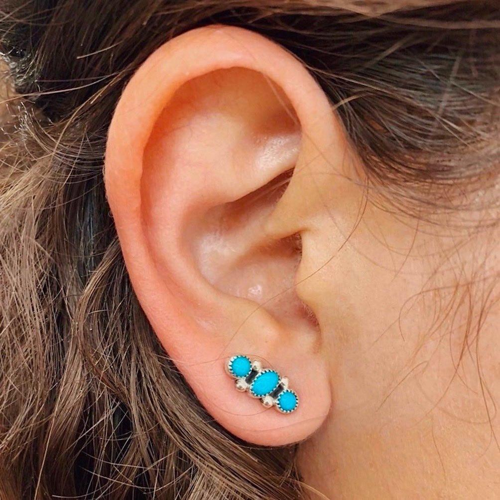 *RTS 3 Stone Blue Turquoise Stud Earrings
