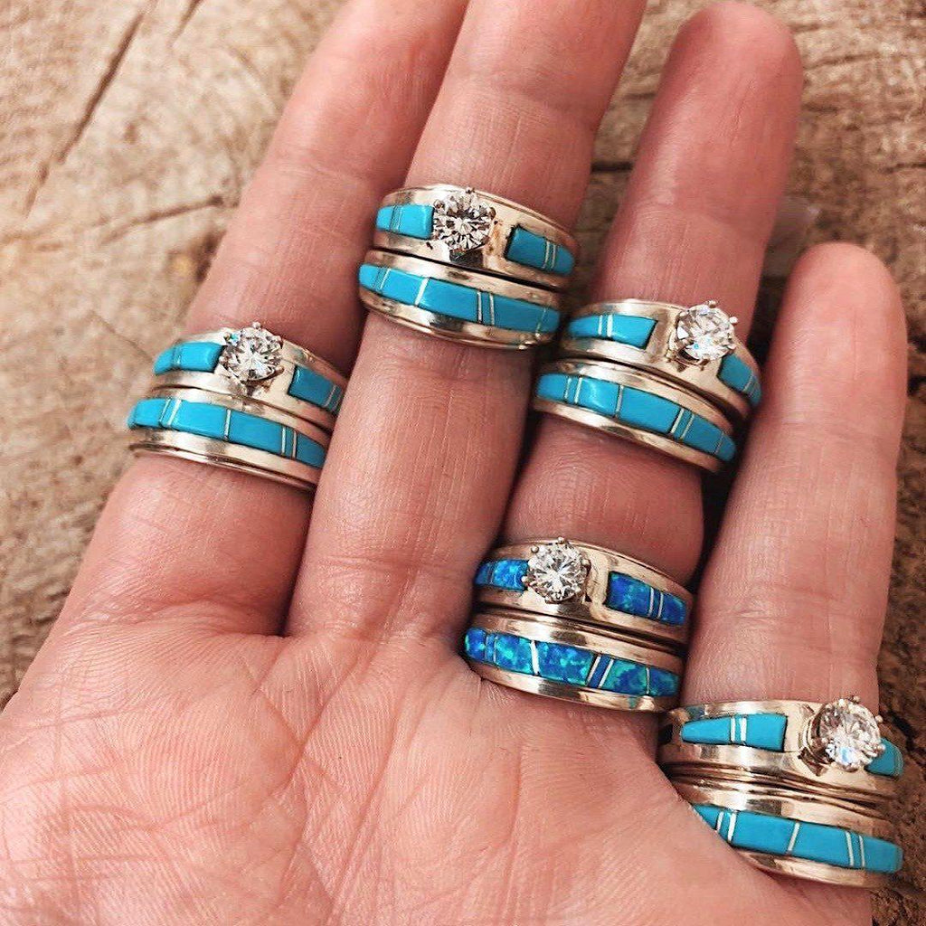 *RTS Zuni BLUE OPAL Wedding Stacker Rings