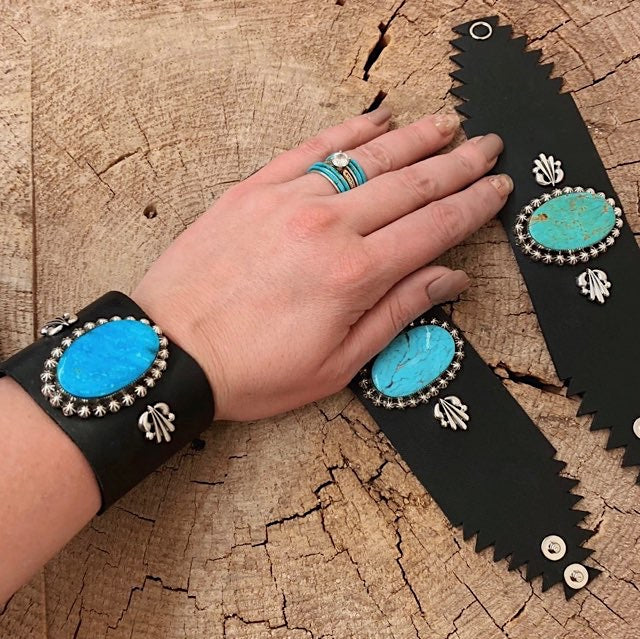 *Thick Black Leather Turquoise Cuff