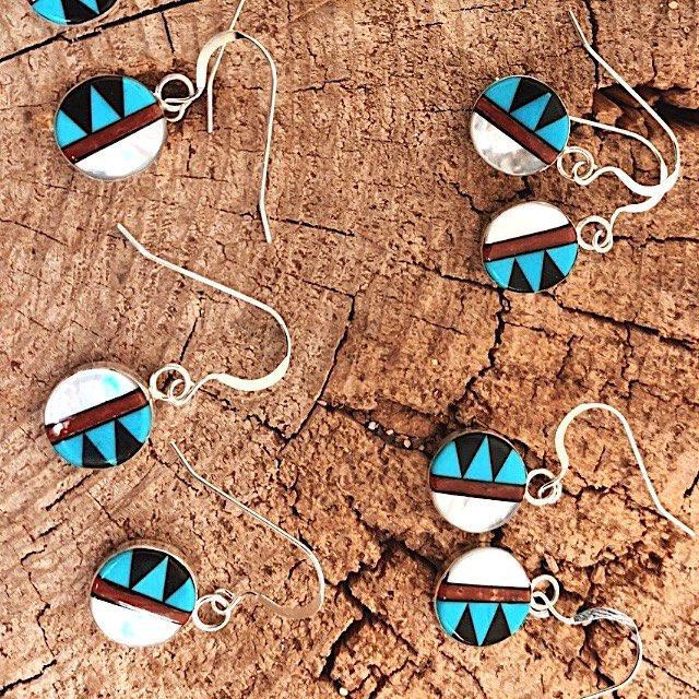 *RTS Zuni Inlay Circle Earrings