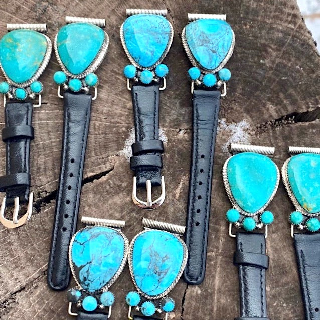 Turquoise+Black Leather FITBIT or Apple Watch