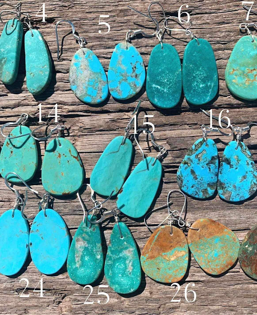 *Genuine Turquoise Slab Earrings
