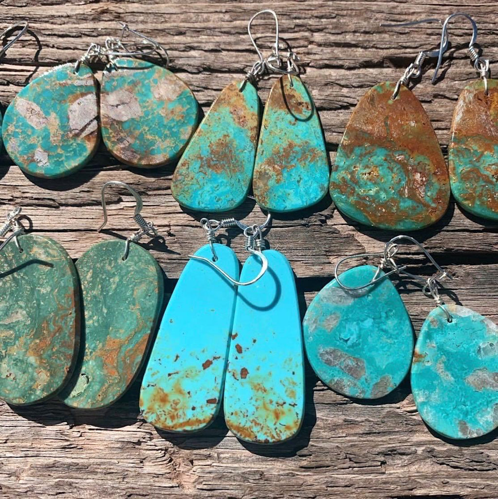 *Natural Turquoise Slab Earrings