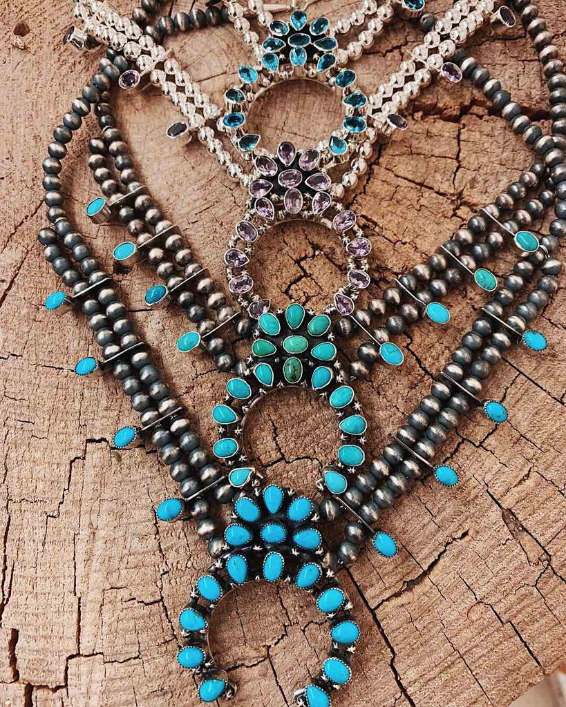 *Mix Stone + Turquoise Squash Blossom Necklace