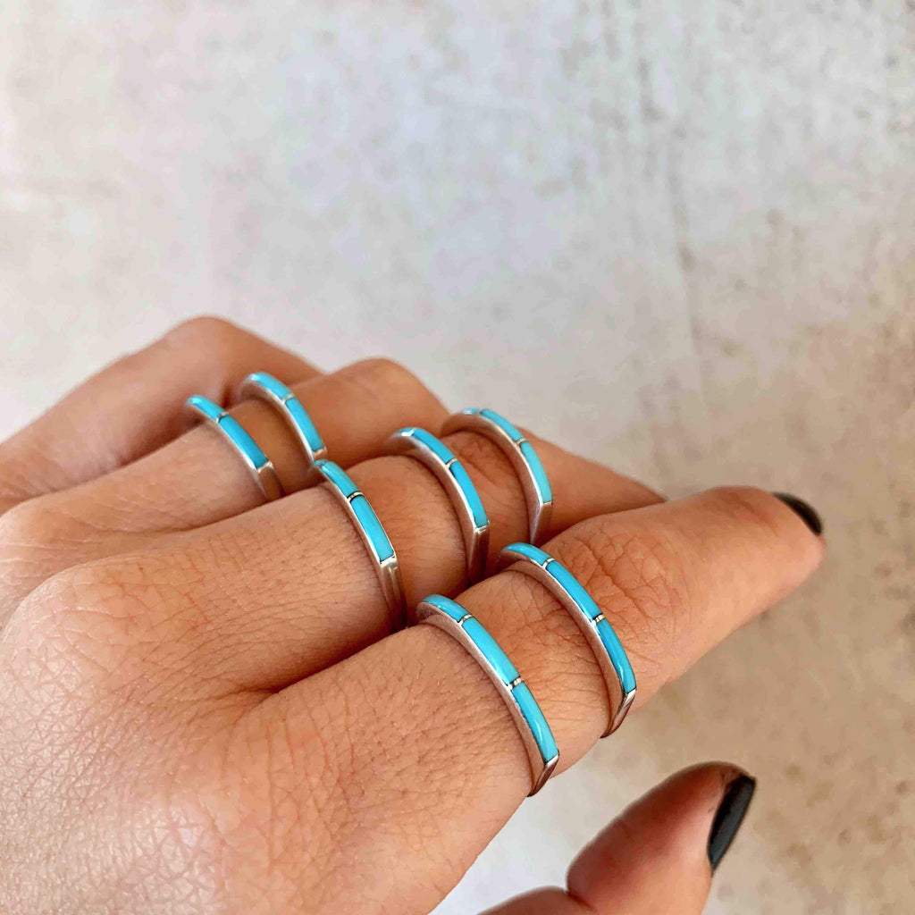 *Super Thin Zuni Turquoise Stacker Ring