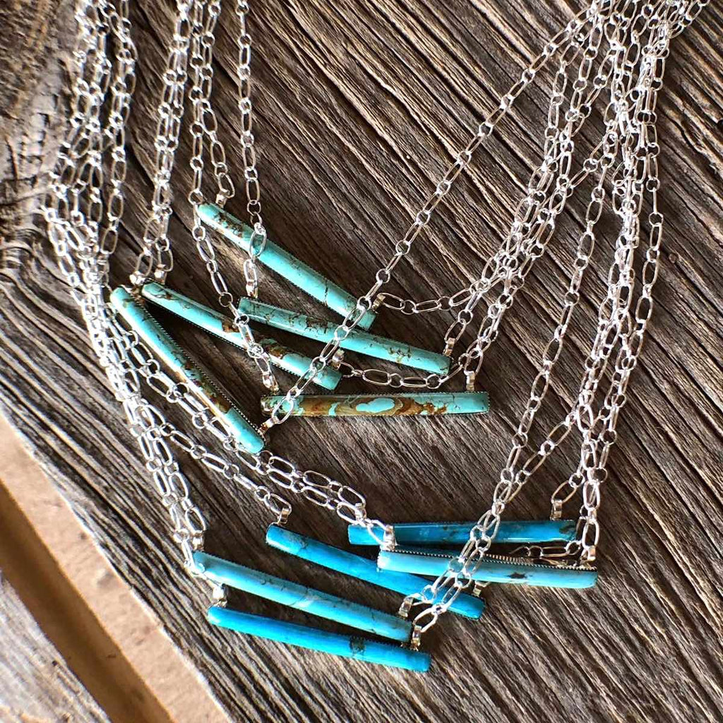 *MADE TO ORDER Thin Turquoise Bar Necklace