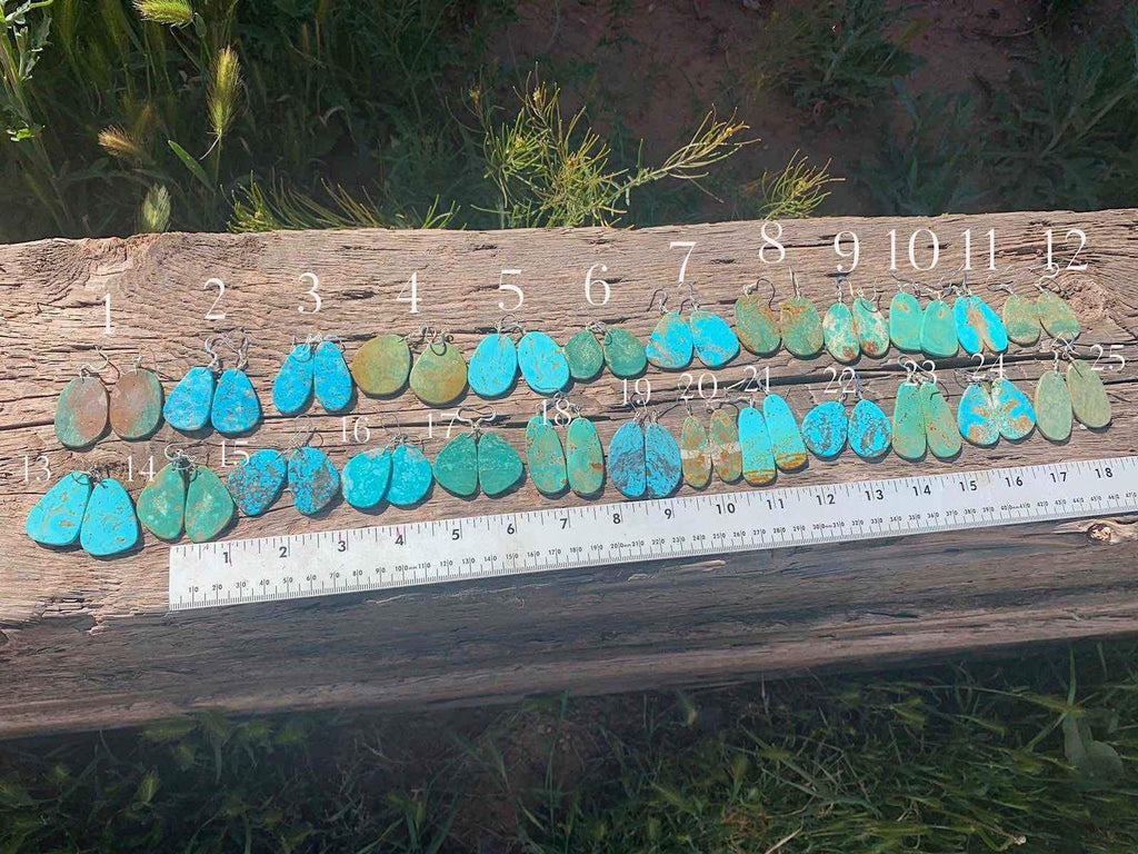 *Natural Turquoise Slab Earrings 2