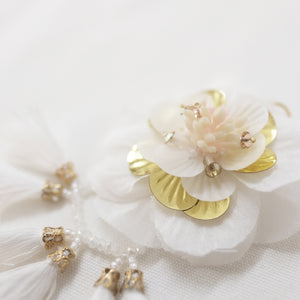 Florally Flur White Earrings - ADA PAT DESIGN