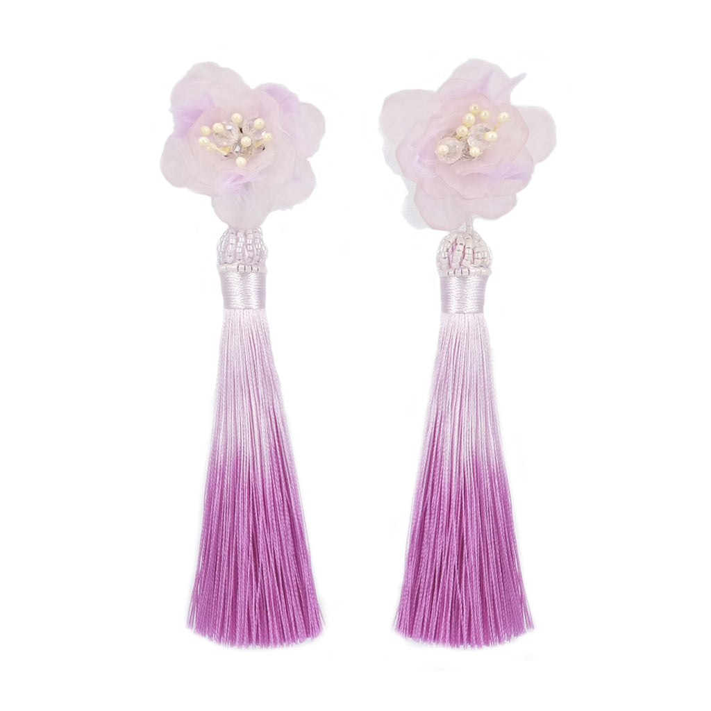Fiesta Feathery Purple Tassel Earrings - ADA PAT DESIGN