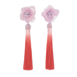 Fiesta Feathery Coral Tassel Earrings - ADA PAT DESIGN