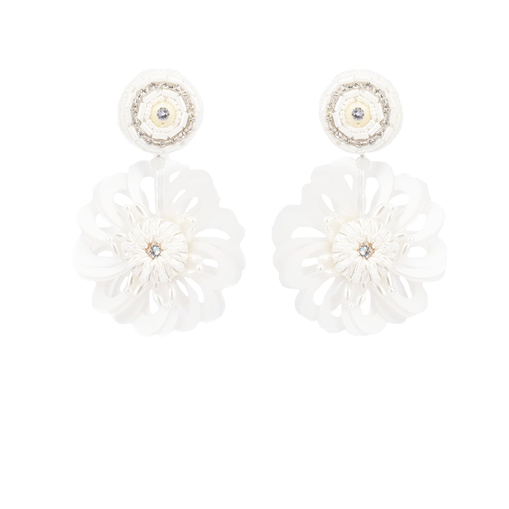 Halo Bloomy White Earrings - ADA PAT DESIGN