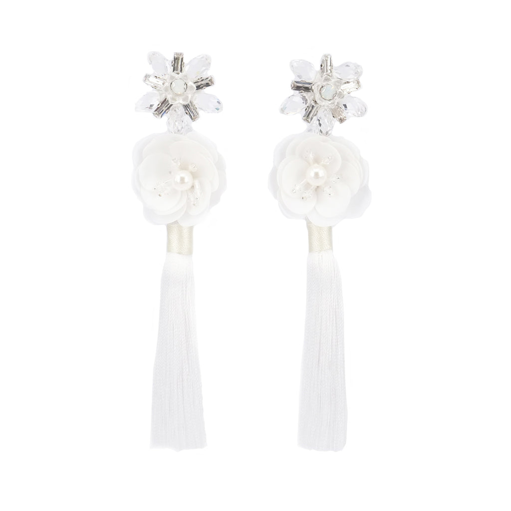 Crystal bloomy White Earrings - ADA PAT DESIGN