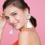Witty White Floral Earrings - ADA PAT DESIGN