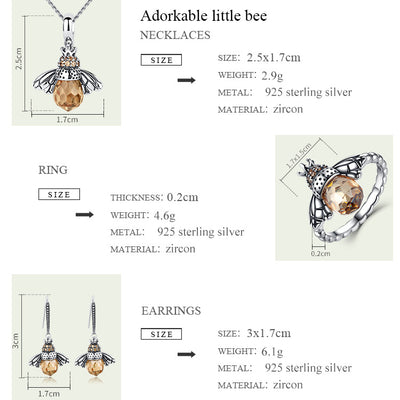 Sterling Silver Pendants Necklace Cute Bee Animal Design