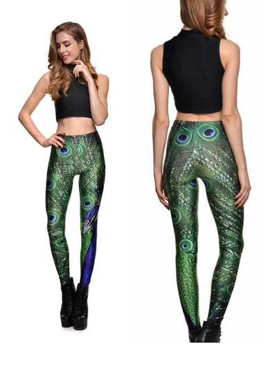 Printed Pattern Leggings, Yoga pants, Peacock