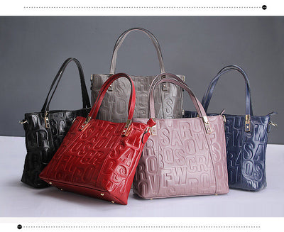 Luxury Women Handbag Embossed letter Genuine Leather all color