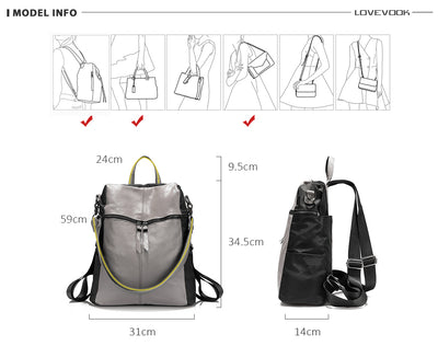 Softback Small backpack for Women Teen Girl Teen Genuine leather Oxford