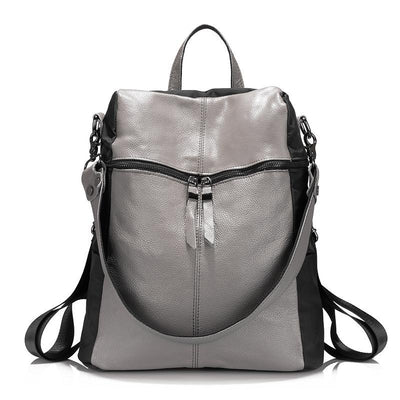Cow Leather Backpack for Women grey