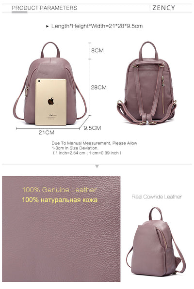 Elegant Ladies Backpack 100% Genuine Leather compare size