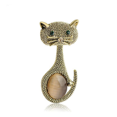 Green Eyes Cat  Brooch Classic Vintage for cat lover collectible
