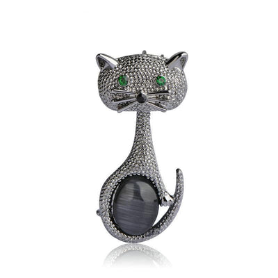 Green Eyes Cat  Brooch Classic Vintage for cat lover collectible black clolor
