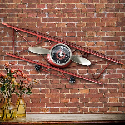 Decorative wall clock, antique flying airplane model.