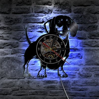 Vinyl Record Wall Clock Dachshund Dog Design
