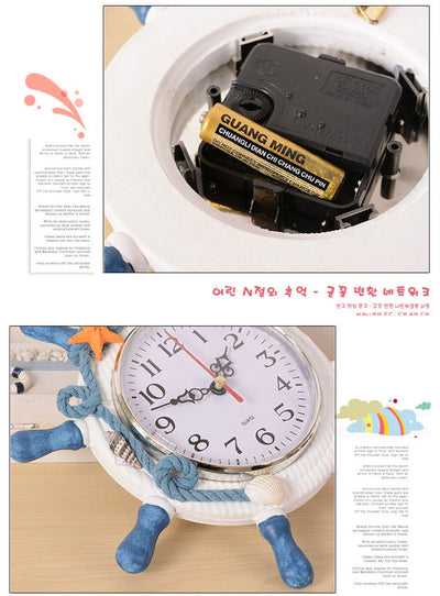 Wall Clock Ship Steering wheel design.