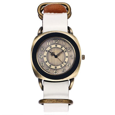 Leather Watches for women Vintage style white bands