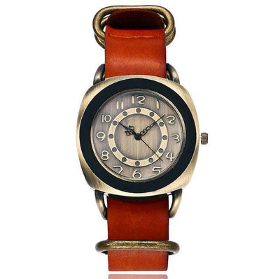 Leather Watches for women Vintage style orange bands