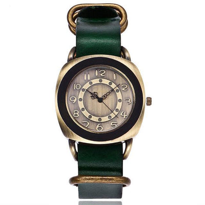 Leather Watches for women Vintage style green bands