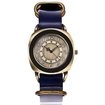 Leather Watches for women Vintage style blue bands