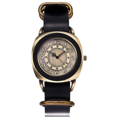 Leather Watches for women Vintage style black bands