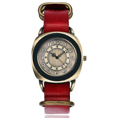 Leather Watches for women Vintage style red bands