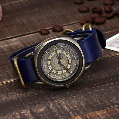 Leather Watches for women Vintage style blue