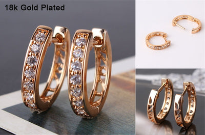 Hoop Earrings 18K Gold With Zirconia