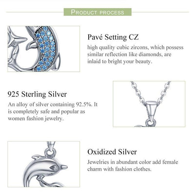 Sterling Silver Necklace with Dolphins Pendant