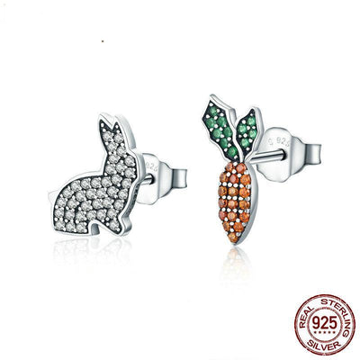 Sterling Silver Cute Rabbit  & Carrot Earrings